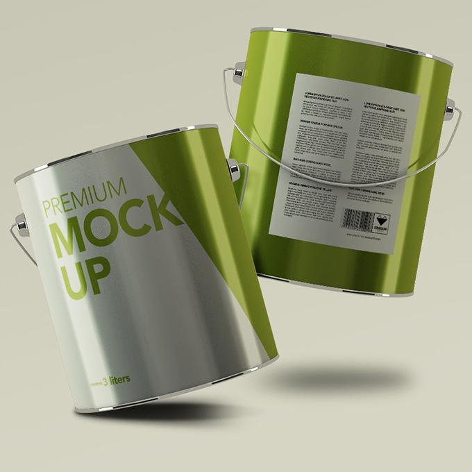 Aluminium Paint Can Packaging Mockup
