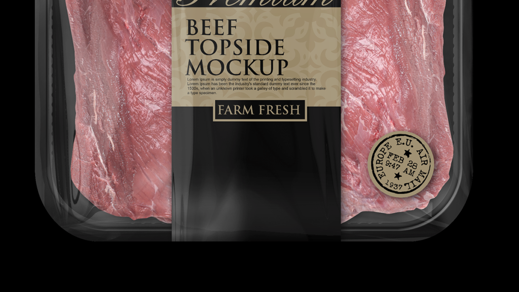Packreate 187 Beef Topside Tray Packaging Mockup Black