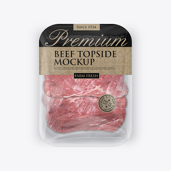 packreate beef topside plastic meat tray packaging mockup