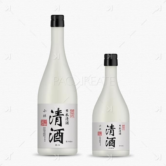 Packreate 187 Sake Bottle Mockup White Glass