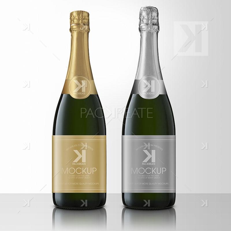 packreate  u00bb champagne bottle psd mockup