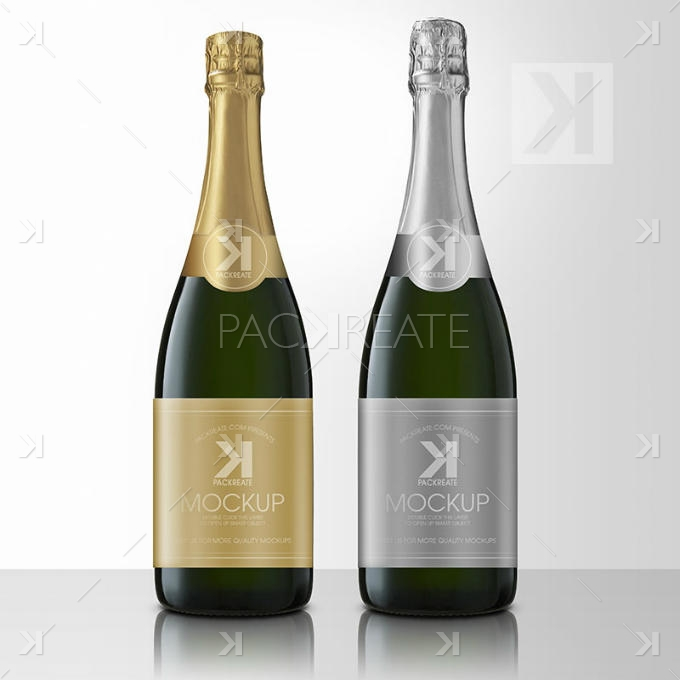 Packreate 187 Champagne Bottle Psd Mockup