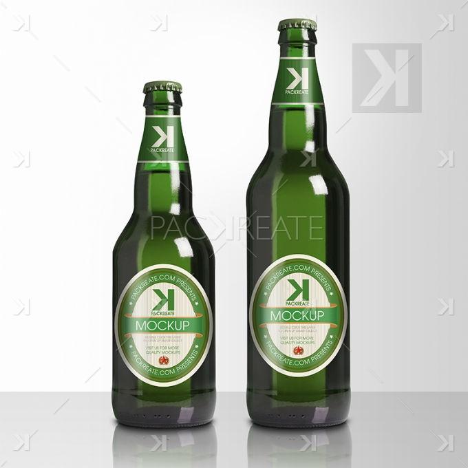 Beer Bottle PSD Mockup – Green Glass