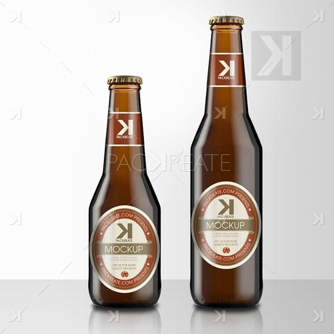 Beer Bottle PSD Mockup Brown Glass