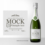 Champagne Bottle Label PSD Template