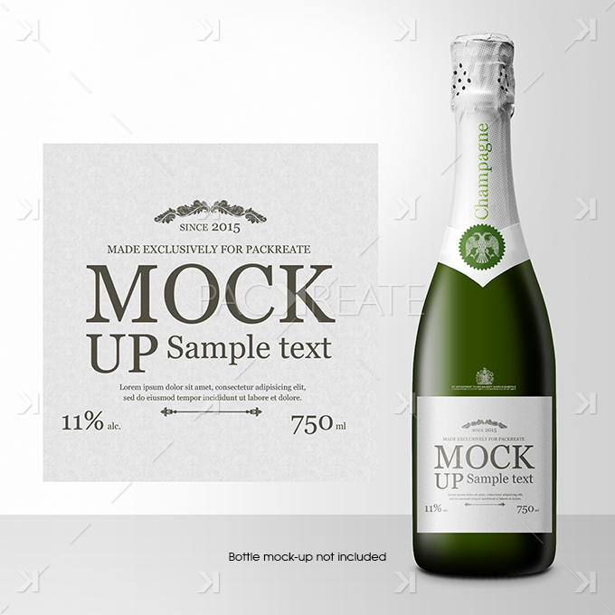 Packreate » Champagne Bottle Label PSD Template