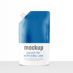 Refill bag pouch foil packaging with side spout lid PSD mock-up