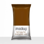 Snack bag pouch foil packaging PSD mock-up