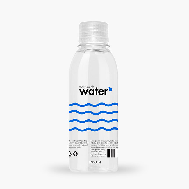 Packreate 187 Distilled Water Plastic Bottle 1000ml Mockup