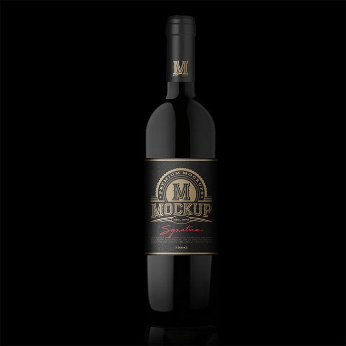 packreate  u00bb premium black high shoulder wine bottle psd mockup