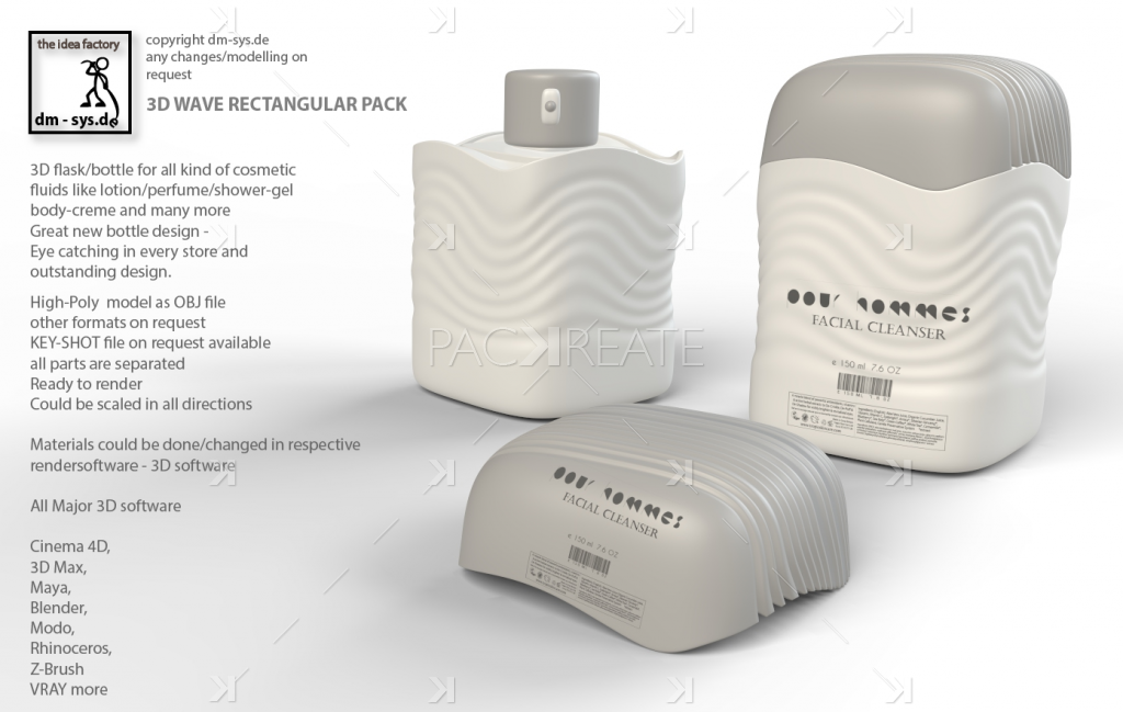 Packreate » 3D Flask Bottle – Wave Rectangle